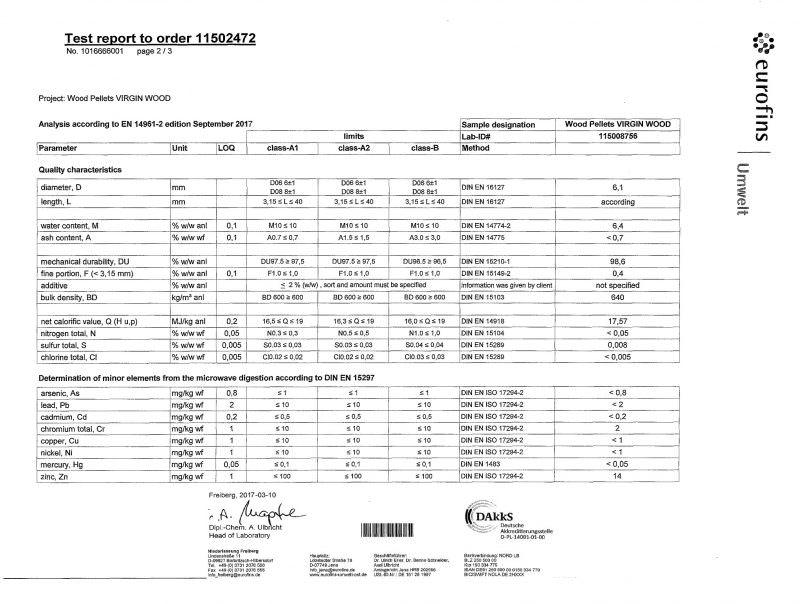 Analisi secondo A1 EN 14961-2 di Eurofins Umwelt, laboratorio ufficiale dell'EnPlus
