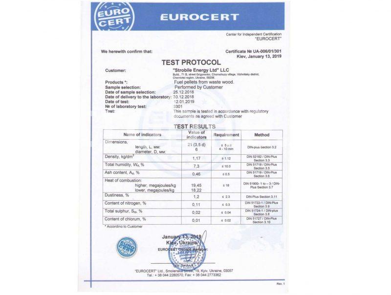 Una certificazione Eurocert che mostra il risultato dello 0,46% di ceneri
