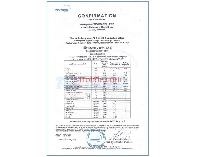 I valori finali del prodotto soddisfano i requisiti della norma EN 14961-2. Confermato da Tuv Nord (Brno, Rep. Ceca), laboratorio ufficiale dell'EnPlus